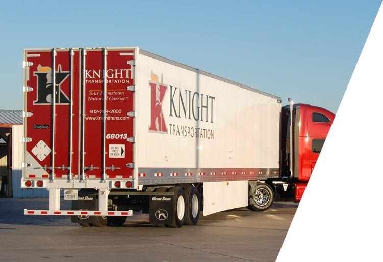 Knight Transportation truck parked in rest area