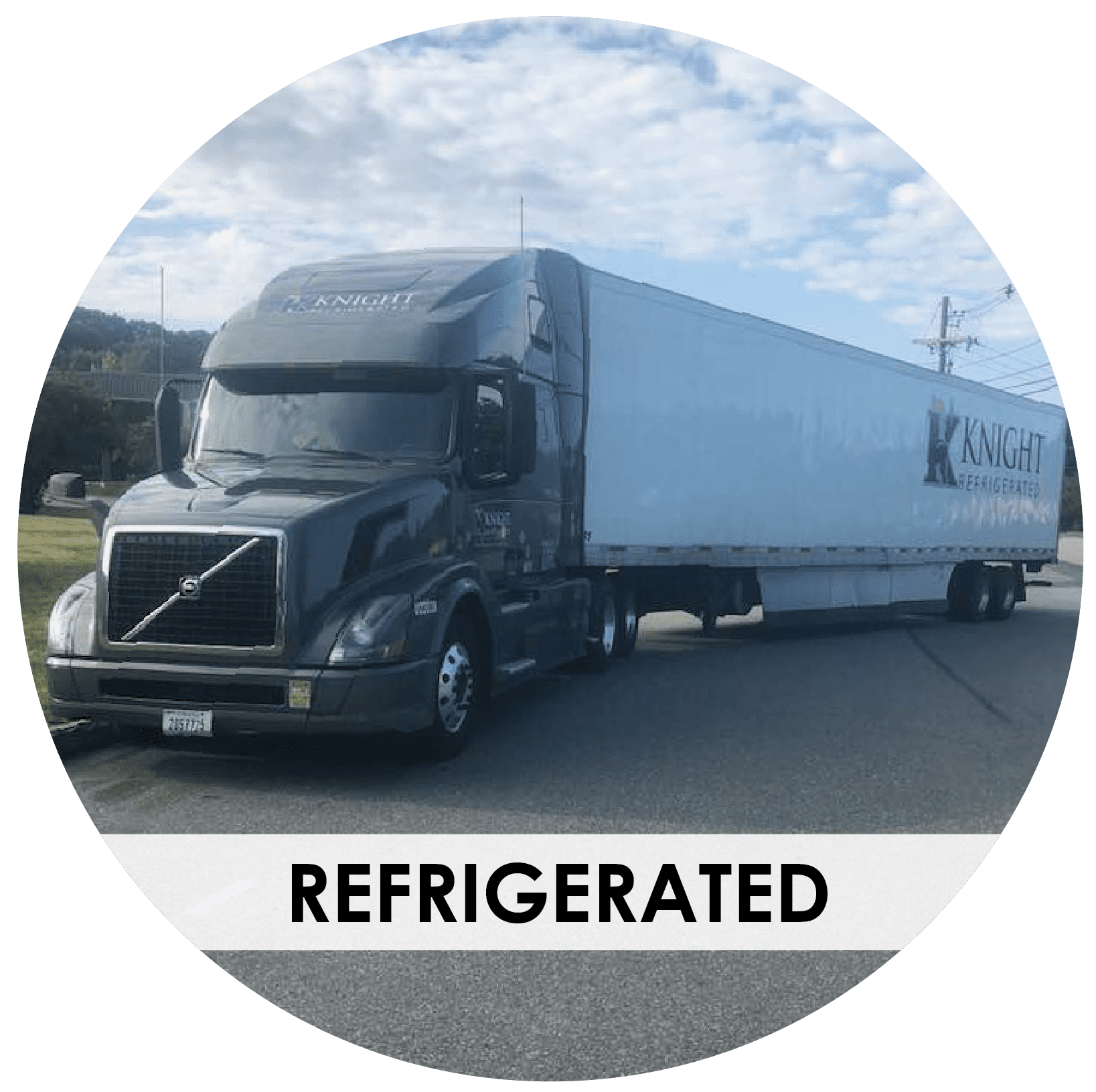 Knight Transportation refrigerated truck parked in large lot