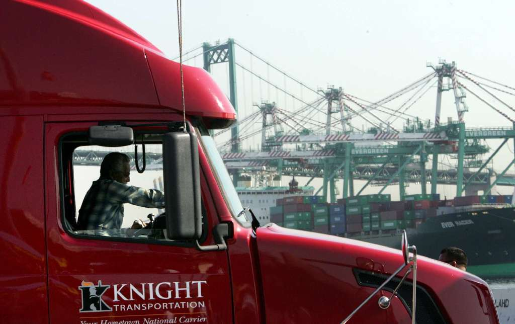 Knight Transportation port & rail truck leaving Los Angeles, CA yard