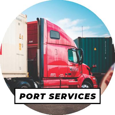 Knight Transportation port & rail truck at shipping yard